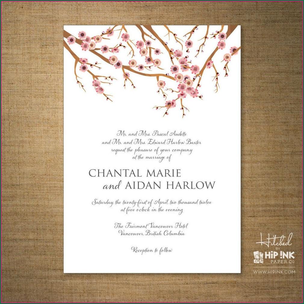 Modern Cherry Blossom Wedding Invitation