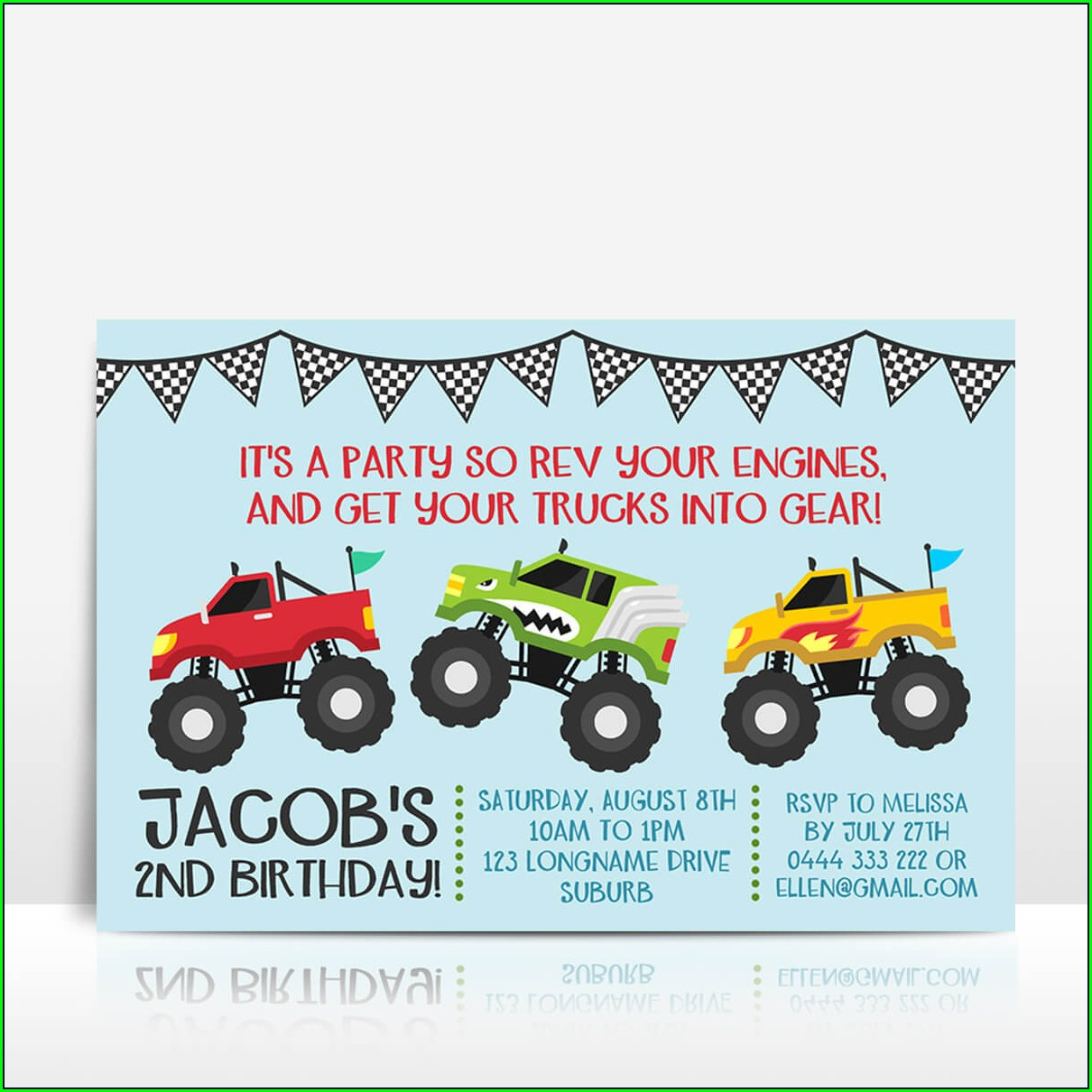Monster Truck Birthday Invitations With Photo