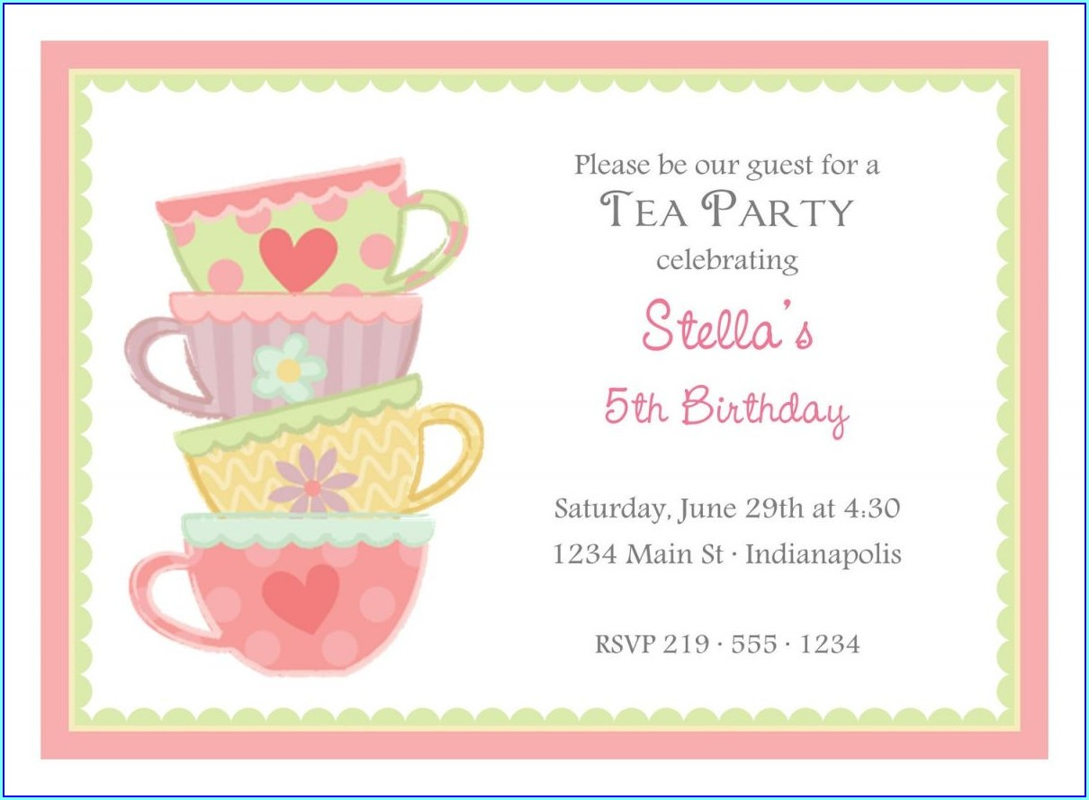 Mother's Day Tea Invitation Template Free