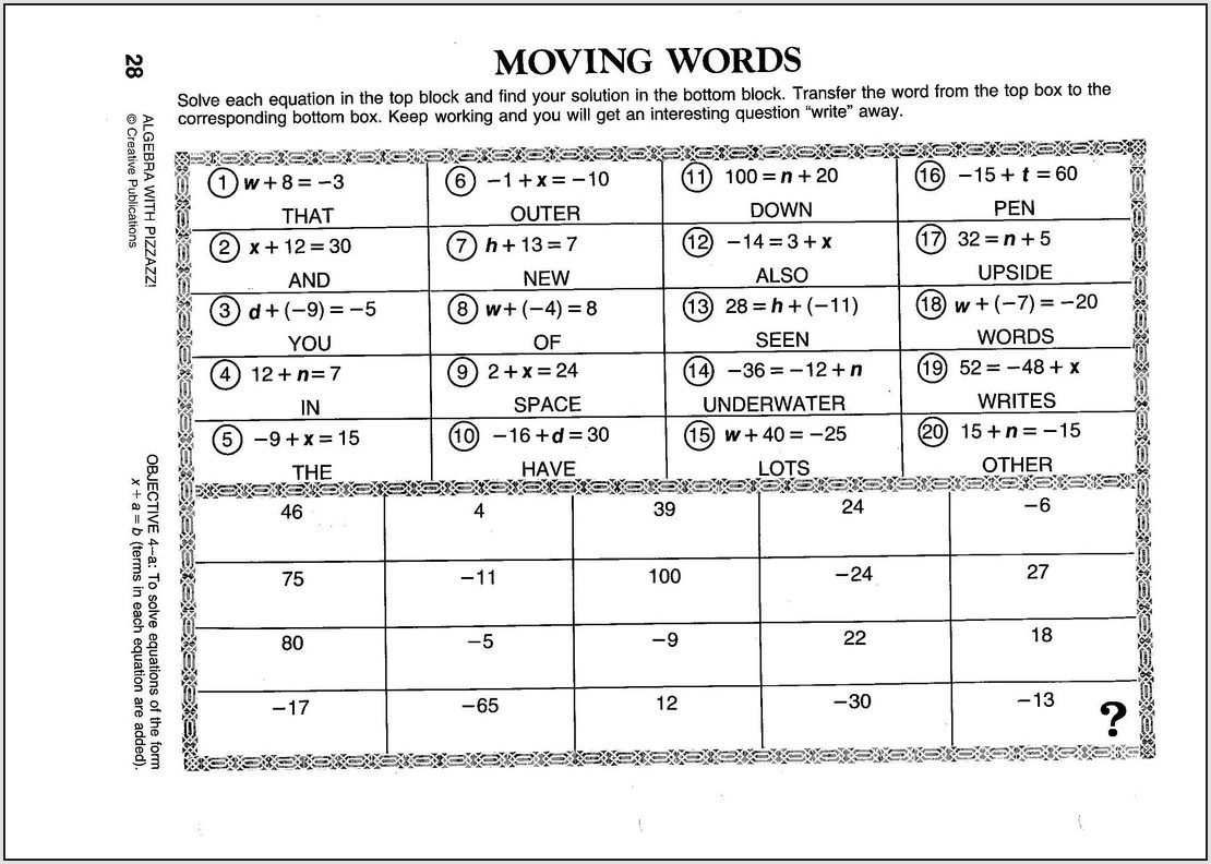 Moving Words Math Worksheet Answers Page 101
