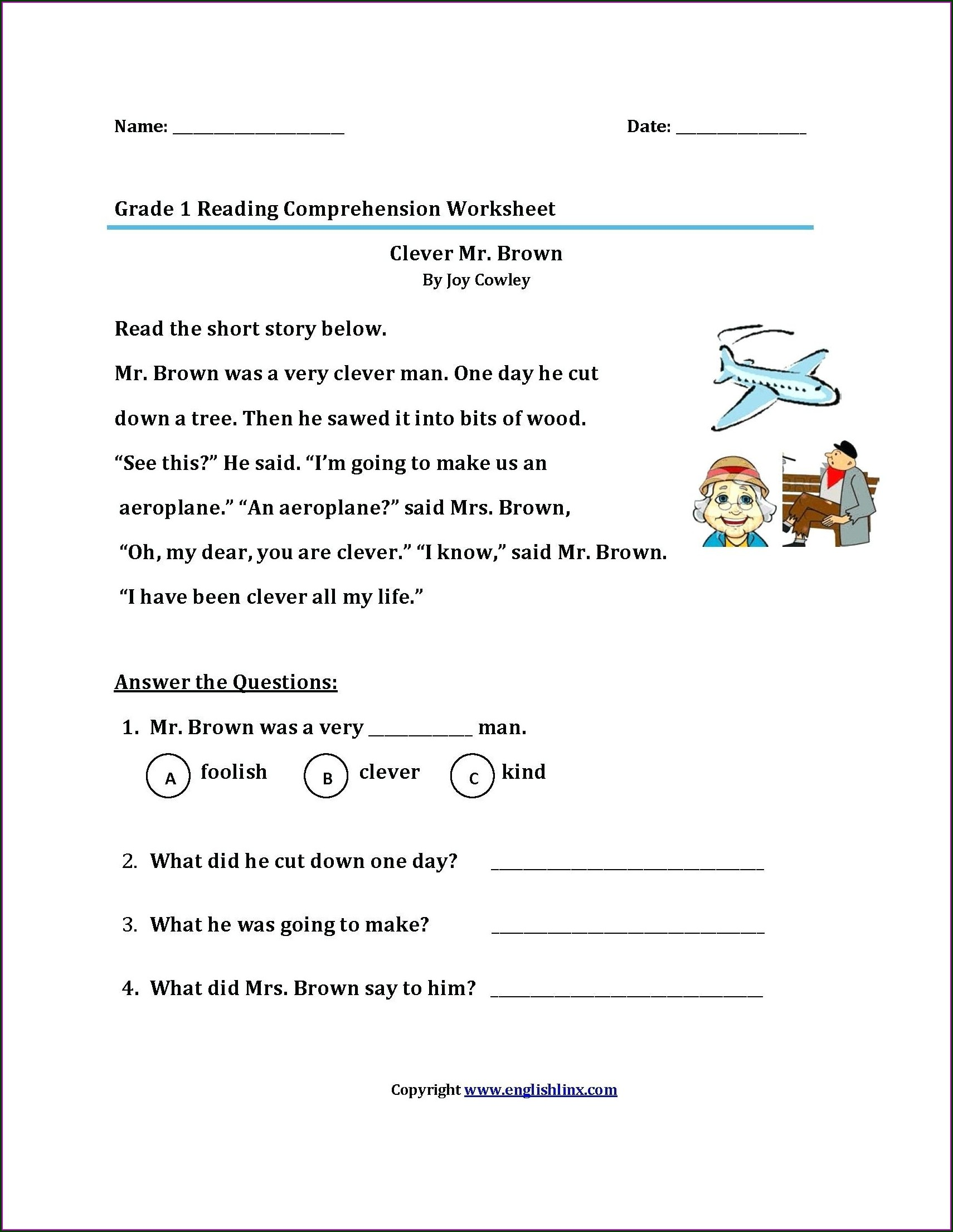 Multiple Choice Reading Comprehension Worksheets 5th Grade