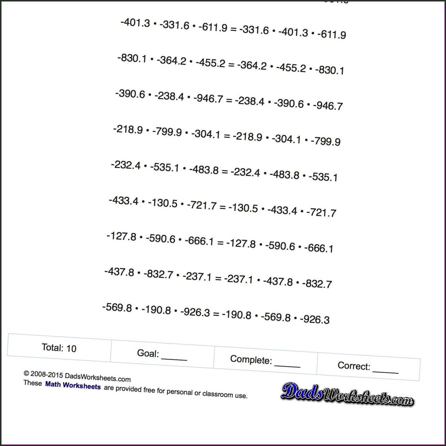 Multiplication And Division Of Integers Worksheet