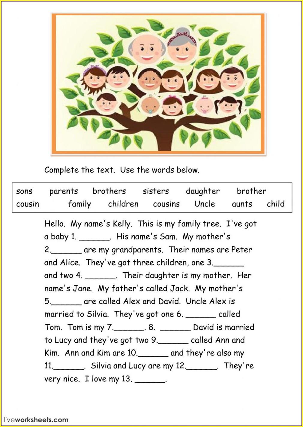 My Family Family Members Worksheet For Kindergarten Pdf