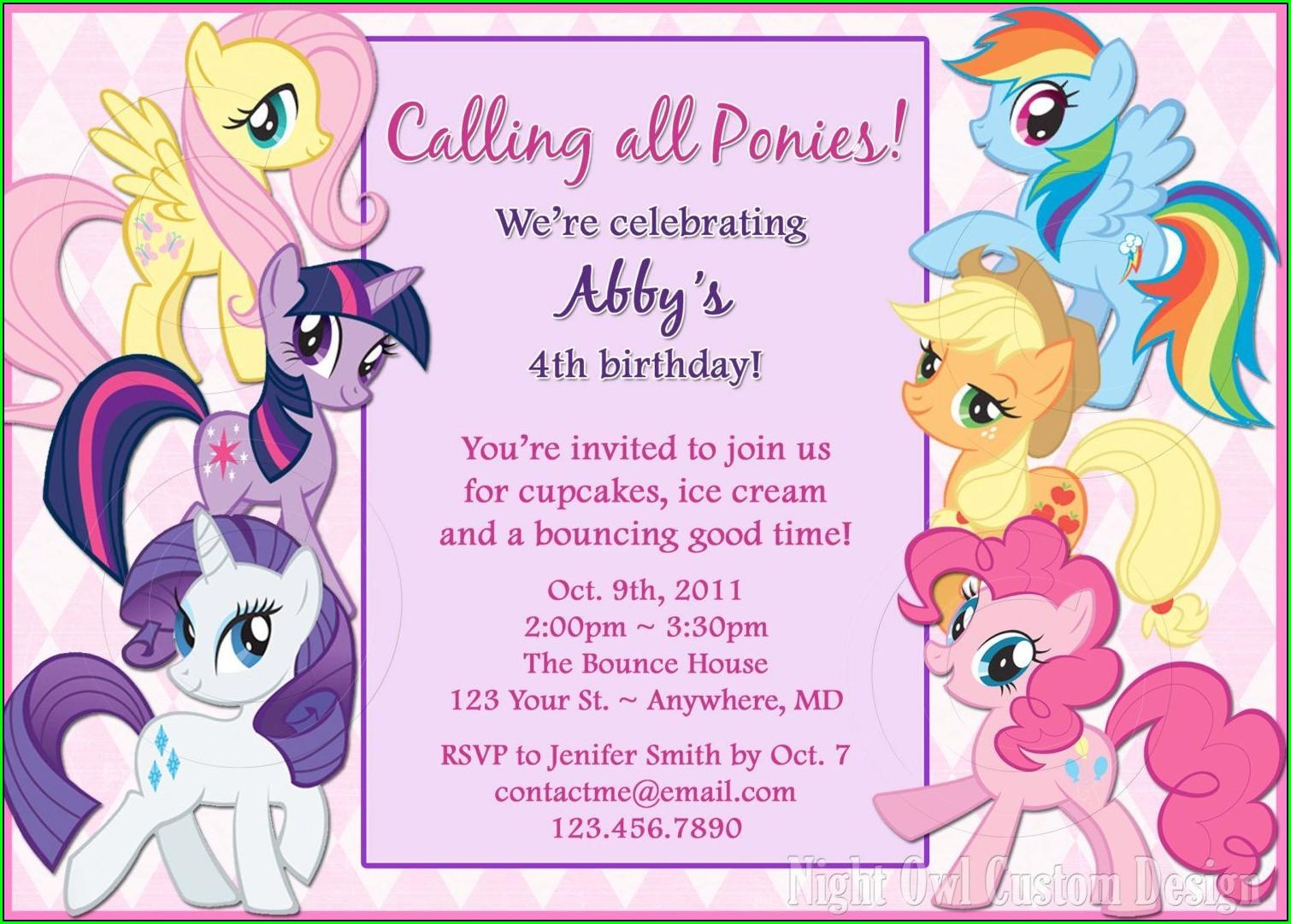 My Little Pony Birthday Invitations Editable