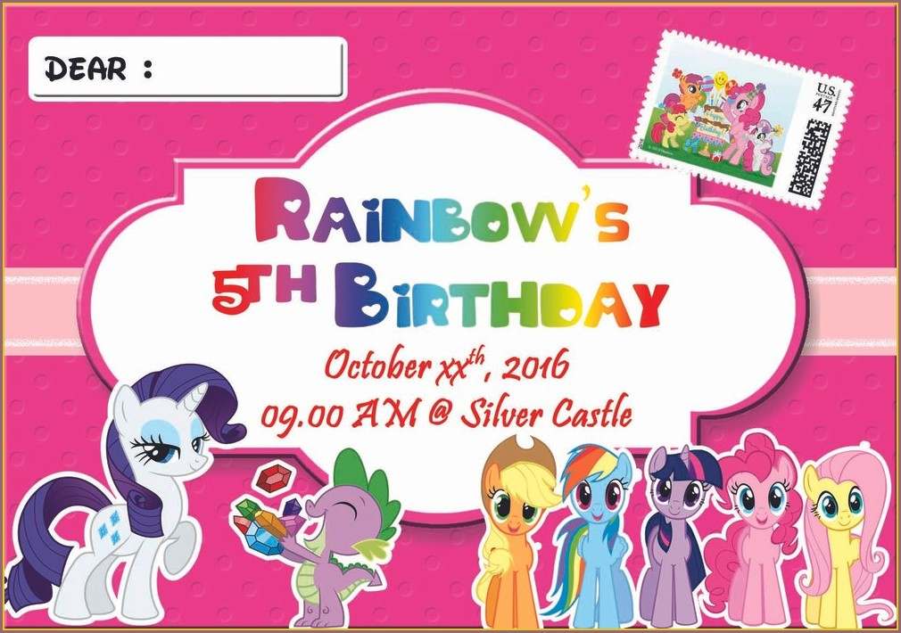My Little Pony Invitation Card