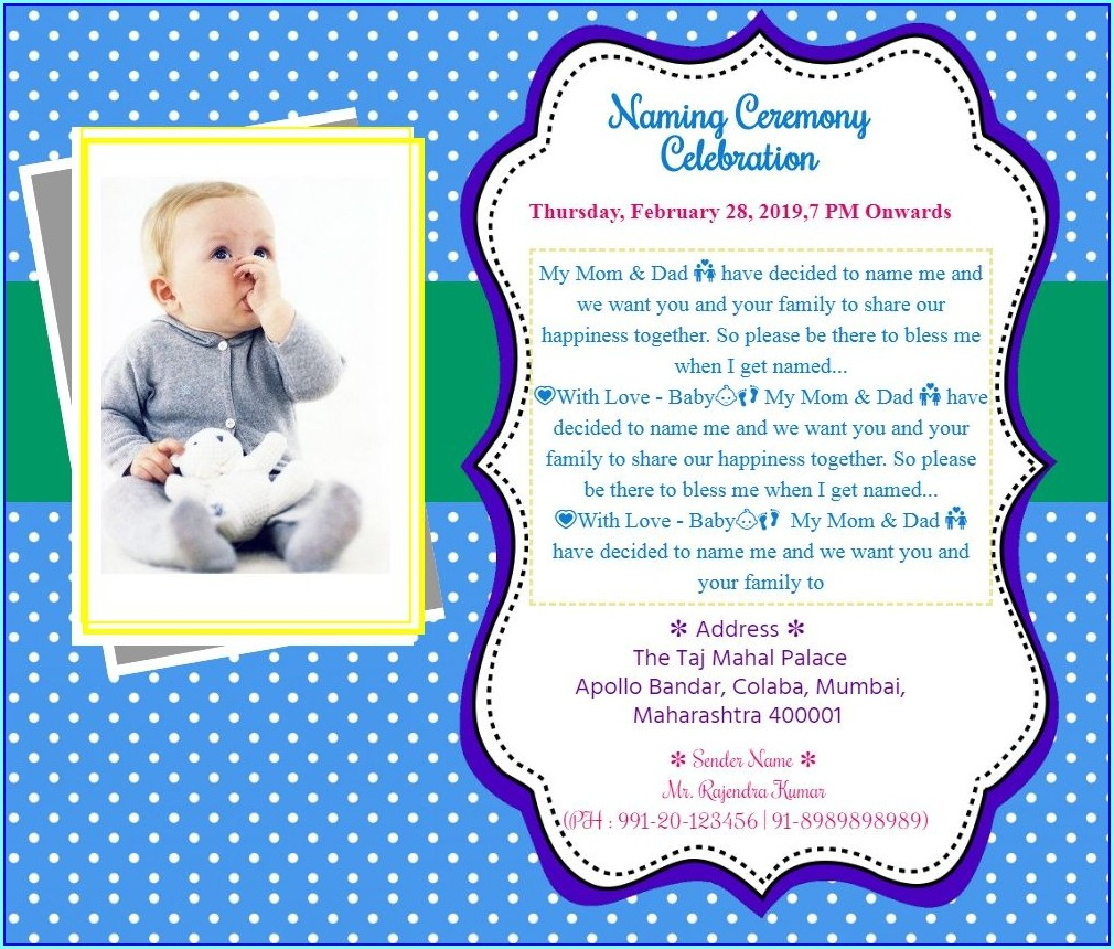 Naming Ceremony Invitation Card For Baby Boy In Hindi