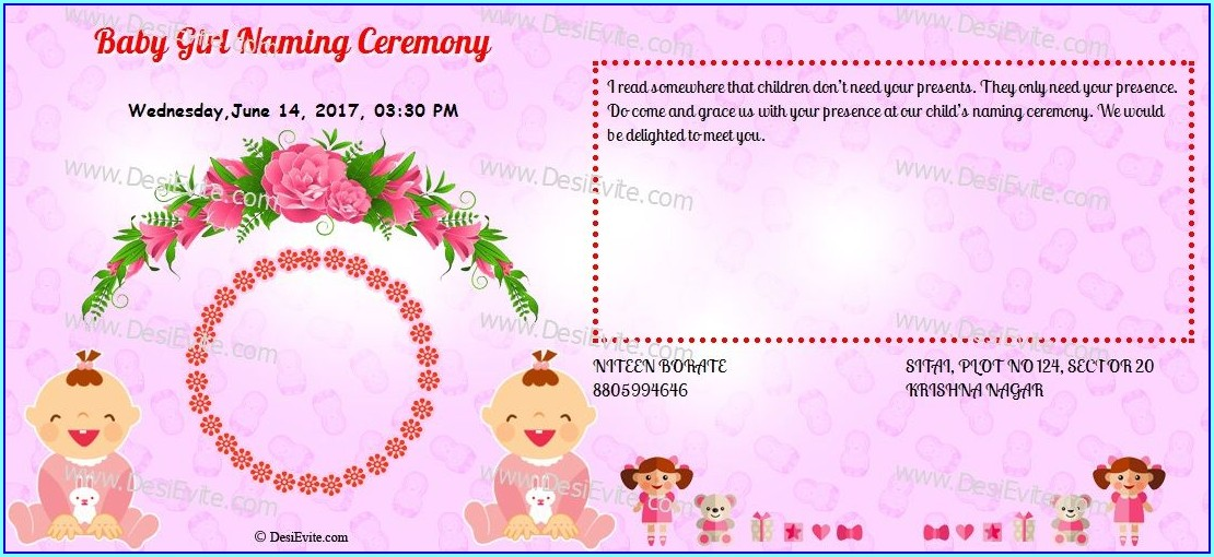 Naming Ceremony Invitation Card For Baby Boy In Kannada