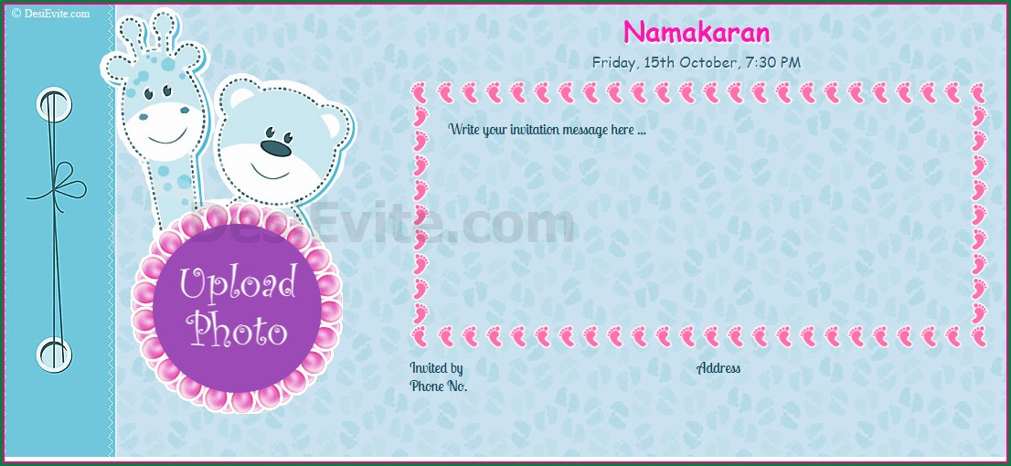 Naming Ceremony Invitation Card For Baby Boy In Marathi
