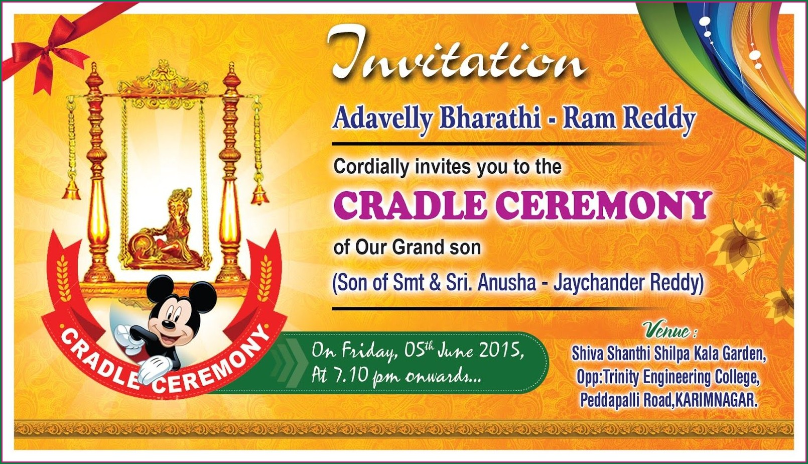 Naming Ceremony Invitation Card For Baby Girl In Telugu