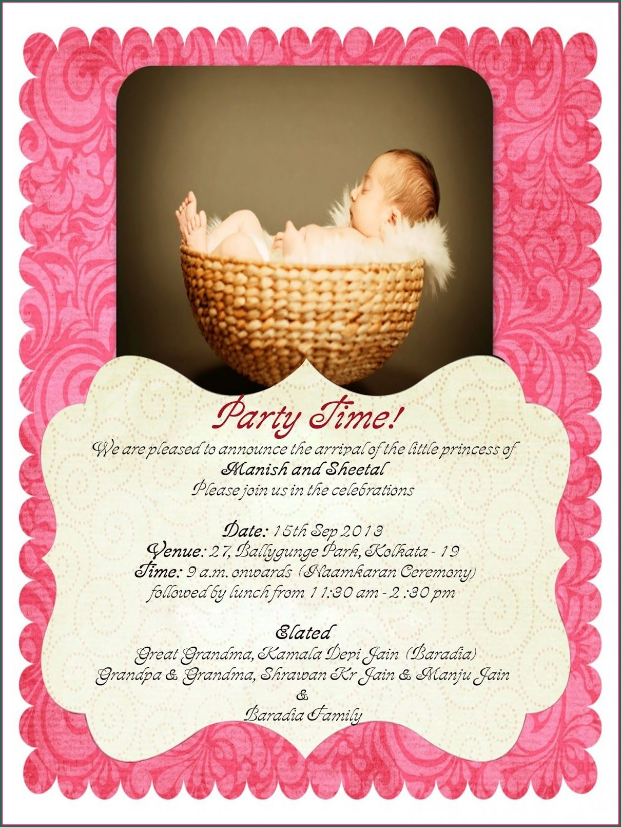 Naming Ceremony Invitation Card For Baby Girl Template