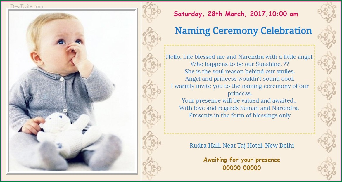 Naming Ceremony Invitation In Kannada