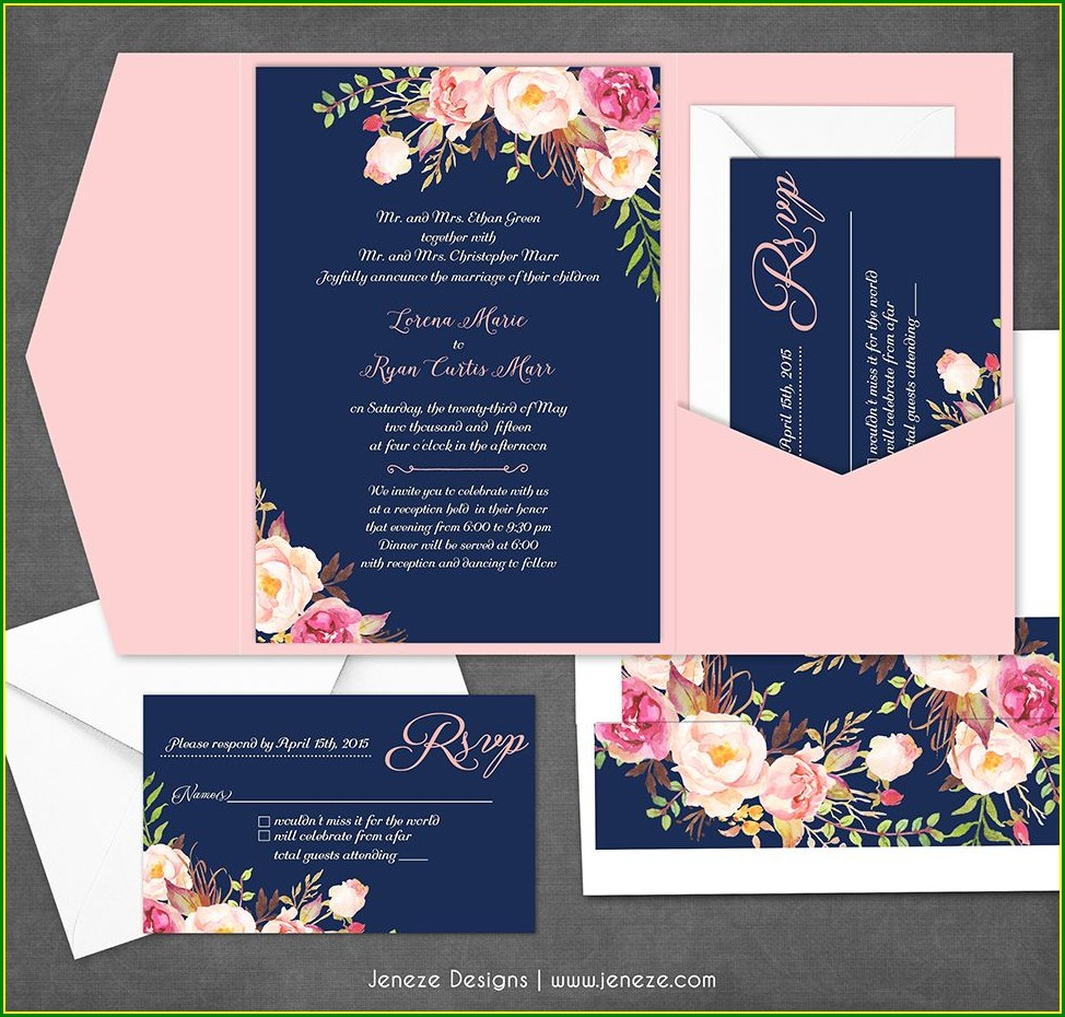 Navy And Blush Pink Wedding Invitations