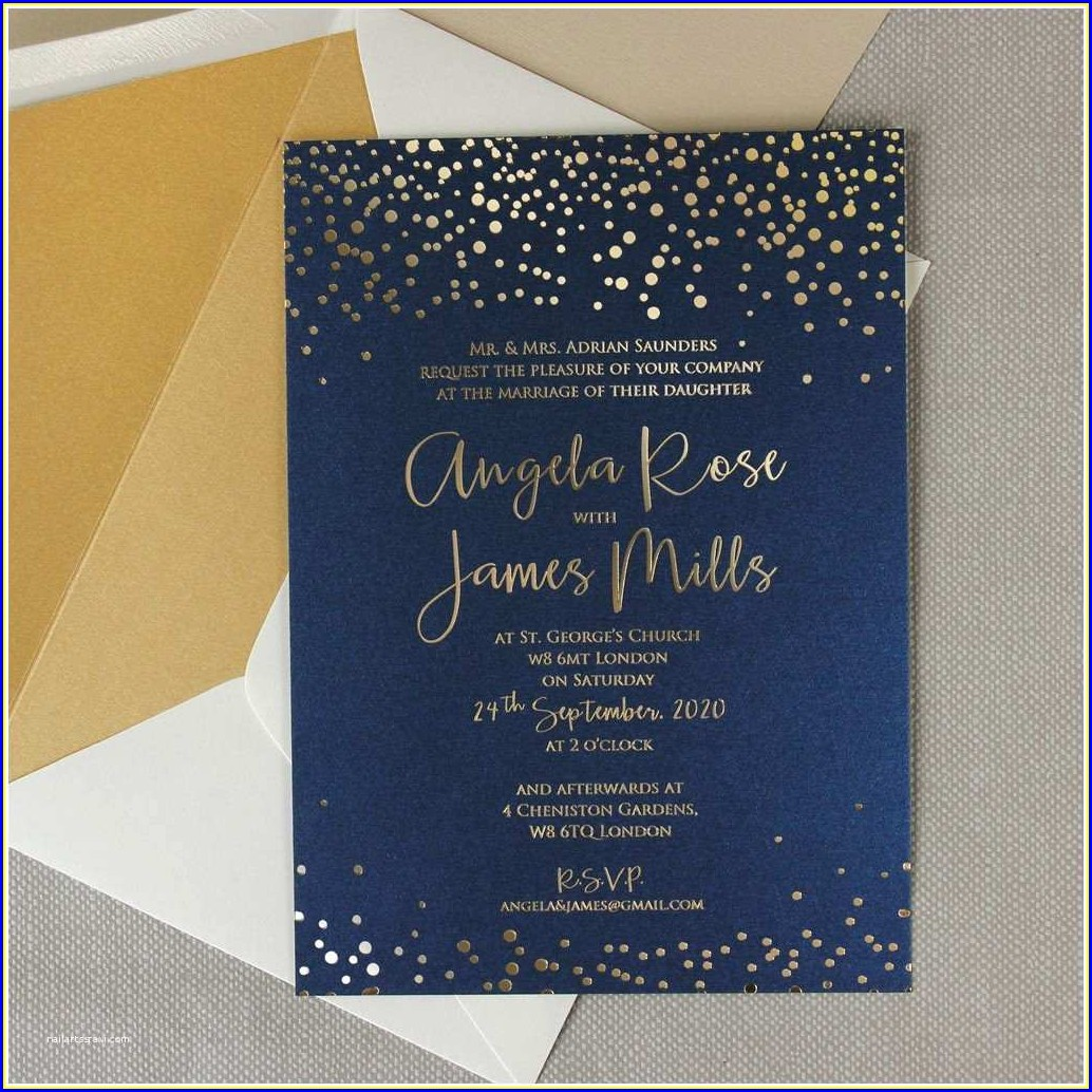 Navy And Gold Wedding Invitations Uk