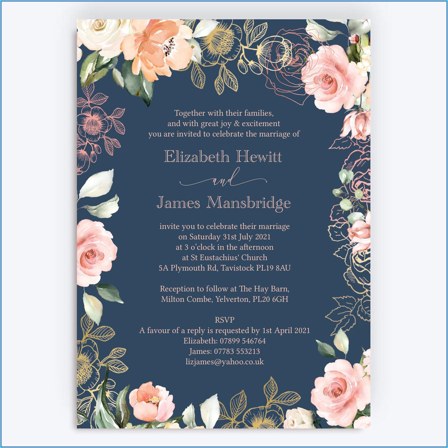 Navy And Rose Gold Wedding Invitations Uk