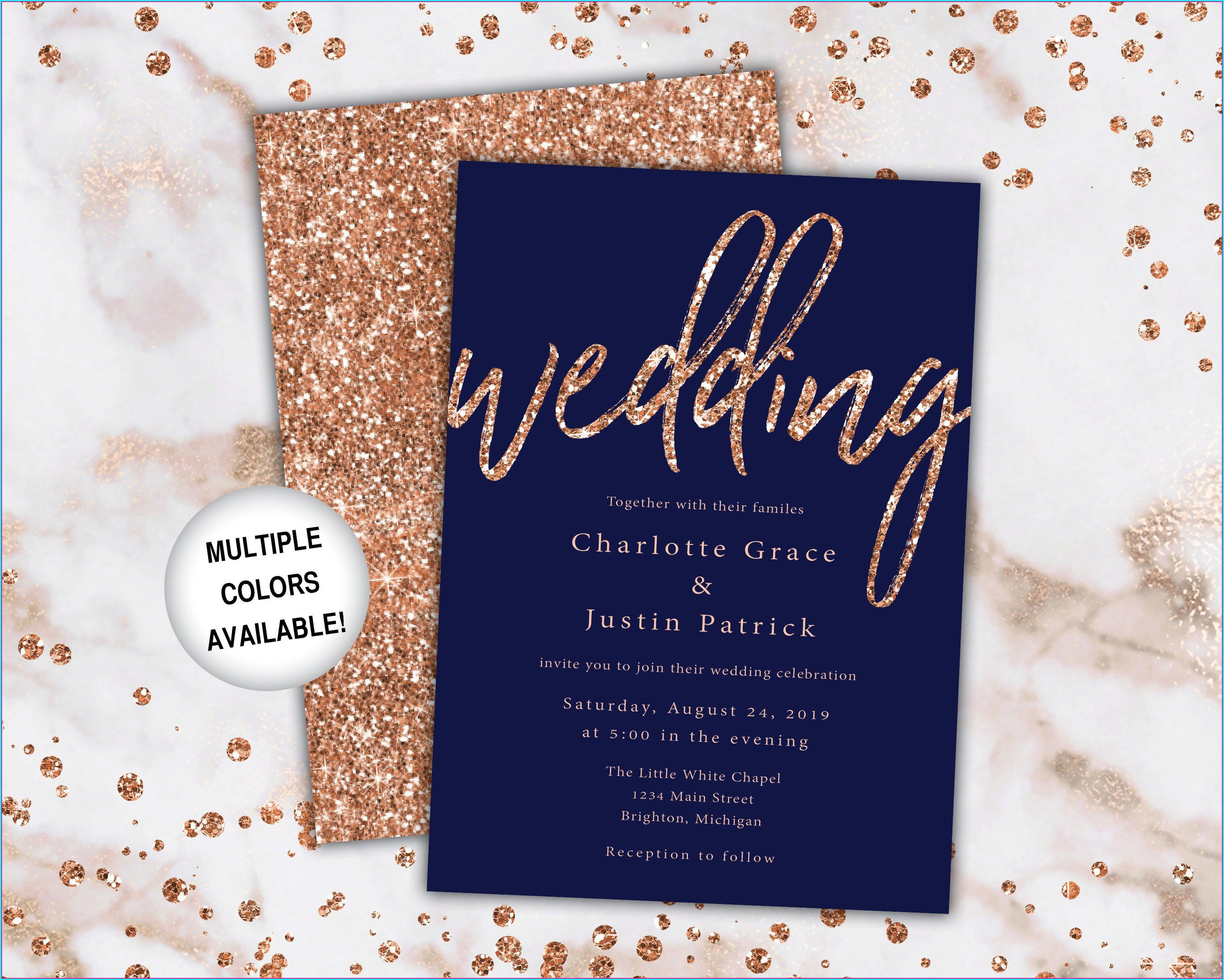 Navy And Rose Gold Wedding Invitations