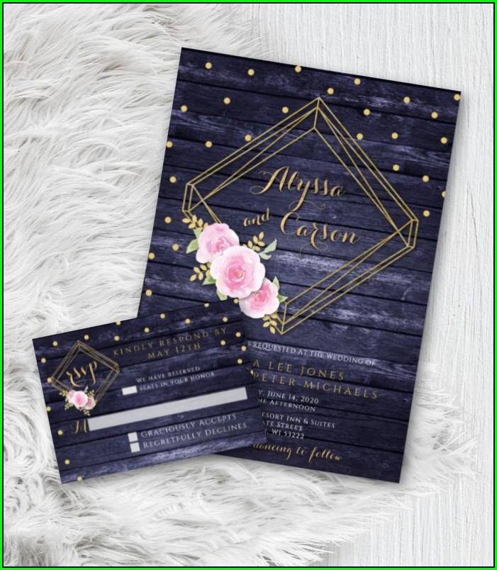 Navy Blue And Blush Pink Wedding Invitations