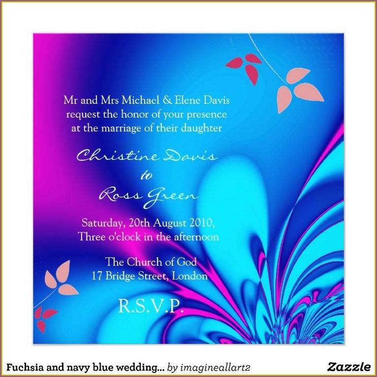 Navy Blue And Fuchsia Wedding Invitations
