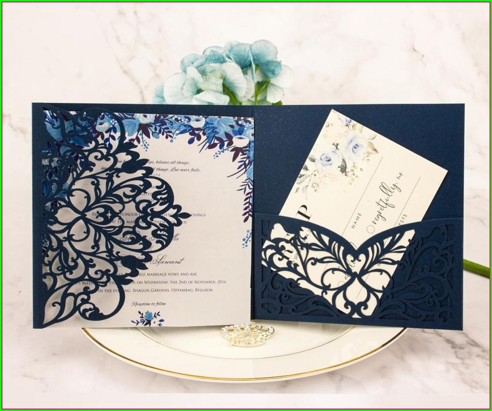 Navy Blue And Light Pink Wedding Invitations