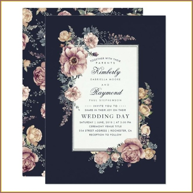 Navy Blue And Mauve Wedding Invitations
