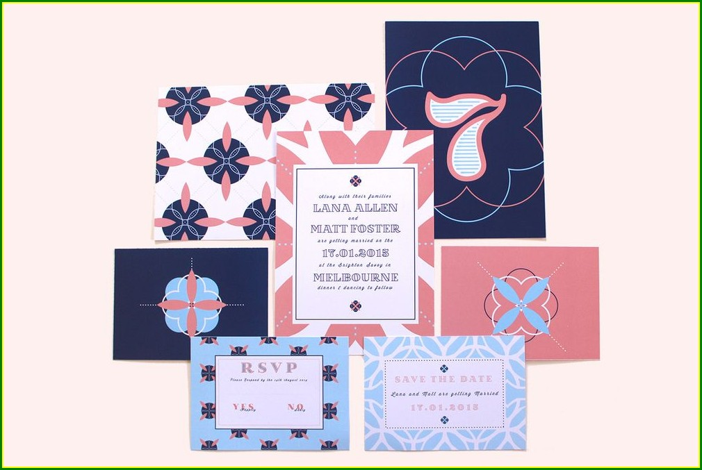 Navy Blue And Peach Wedding Invitations