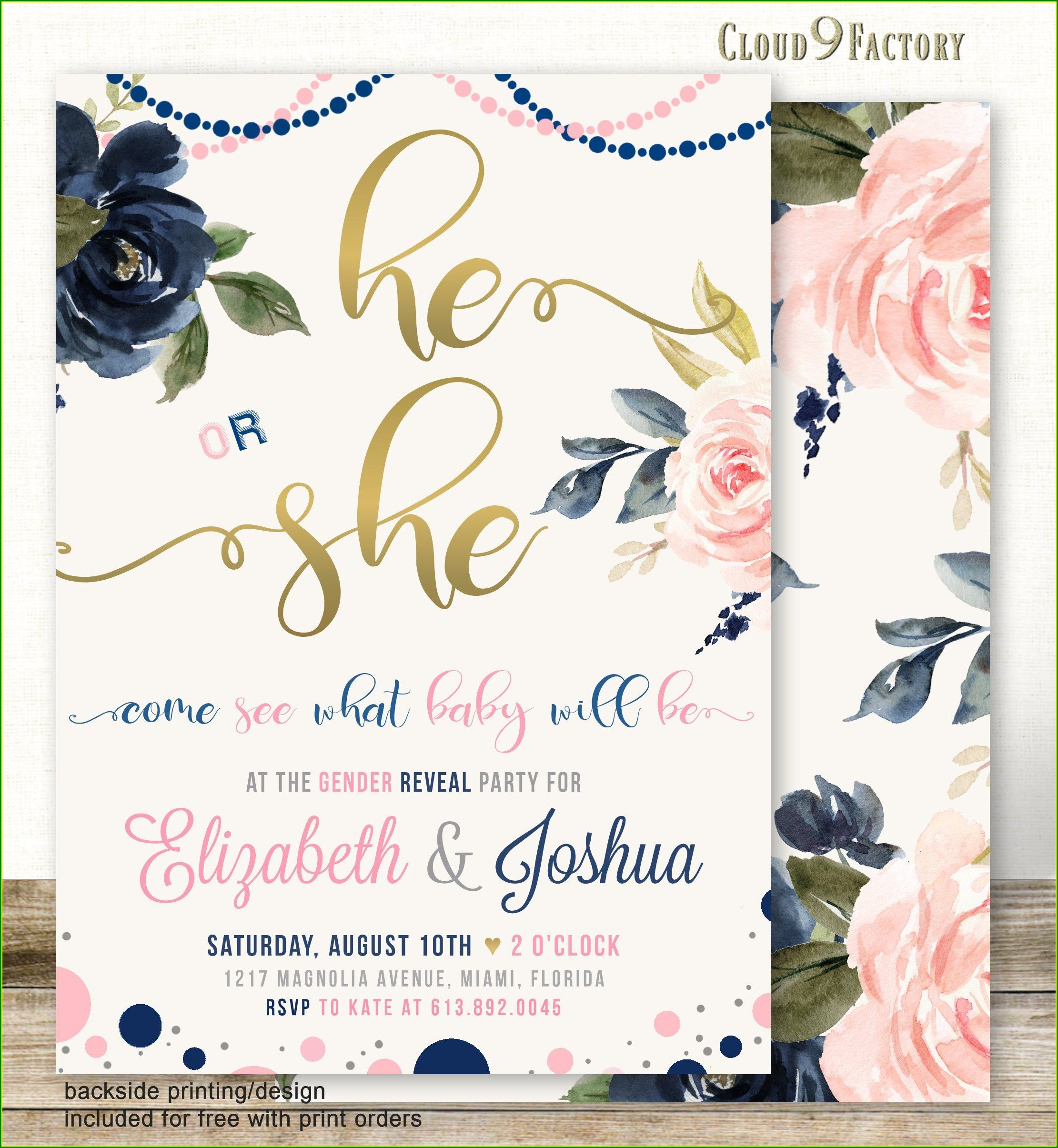 Navy Blue And Pink Gender Reveal Invitations