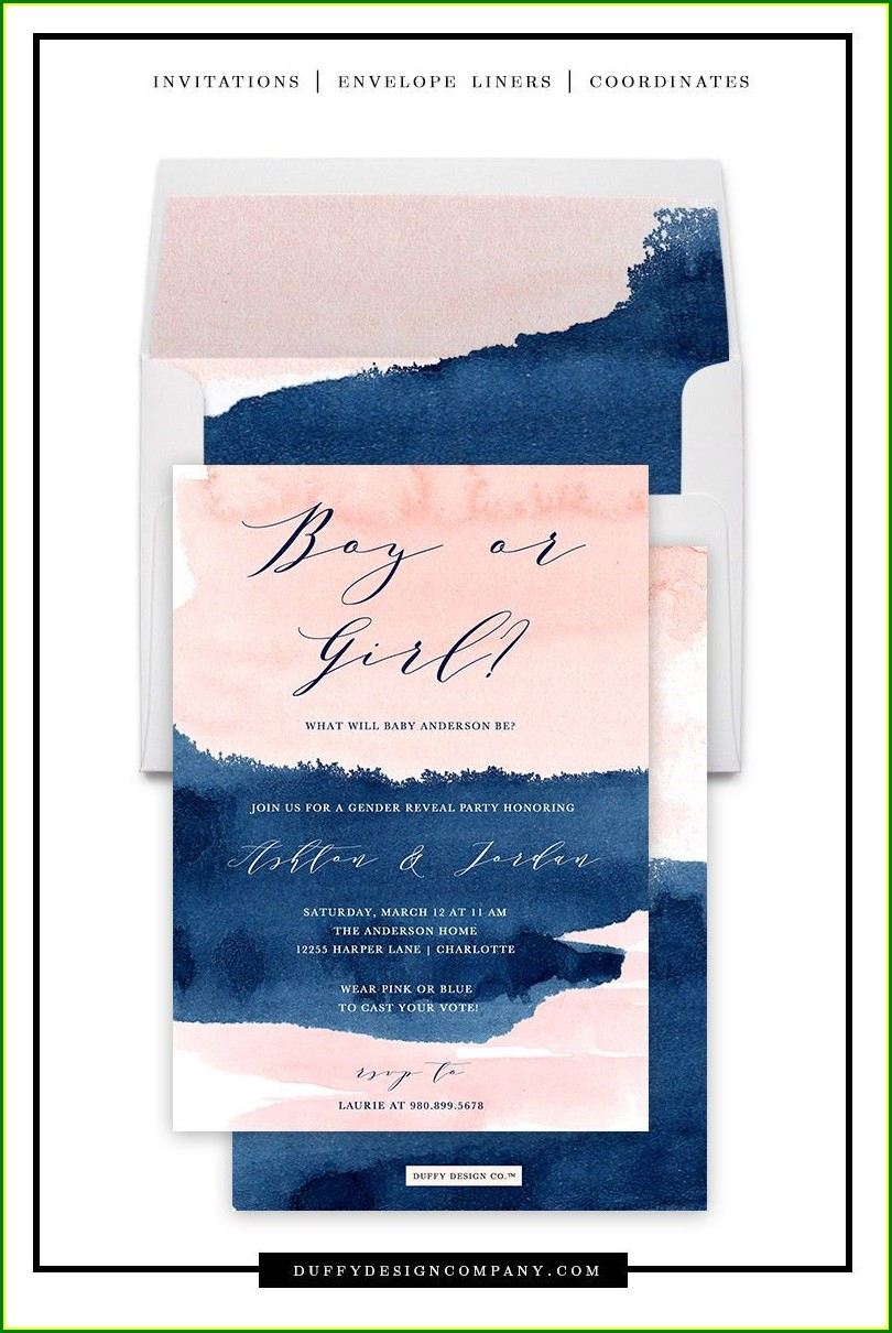Navy Blue And Pink Invitations