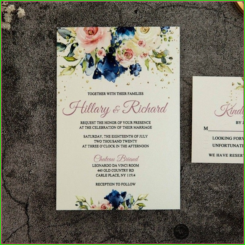 Navy Blue And Pink Wedding Invitations