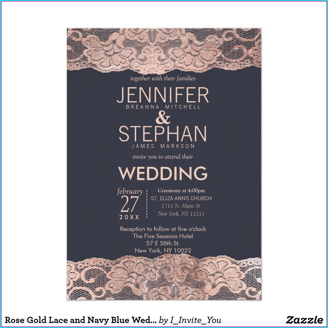 Navy Blue And Rose Gold Invitations