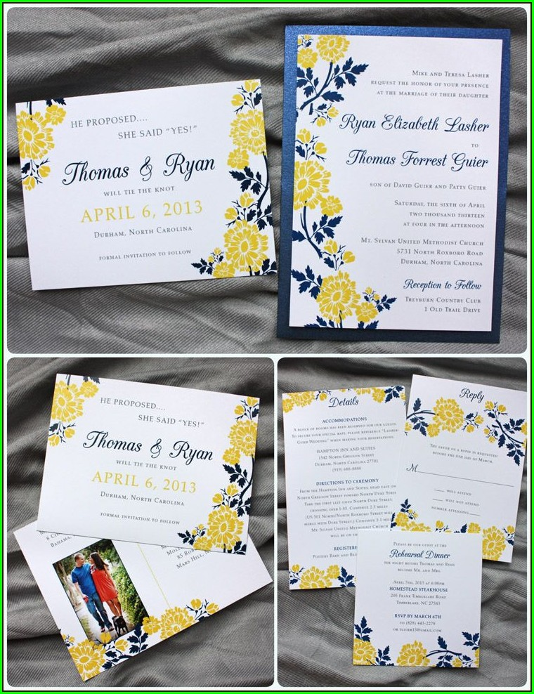 Navy Blue And Yellow Wedding Invitations