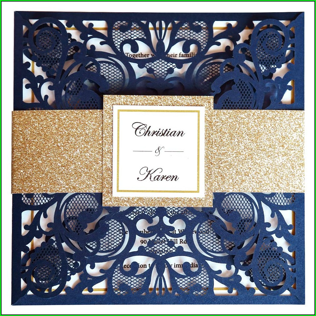 Navy Blue Burgundy And Gold Wedding Invitations