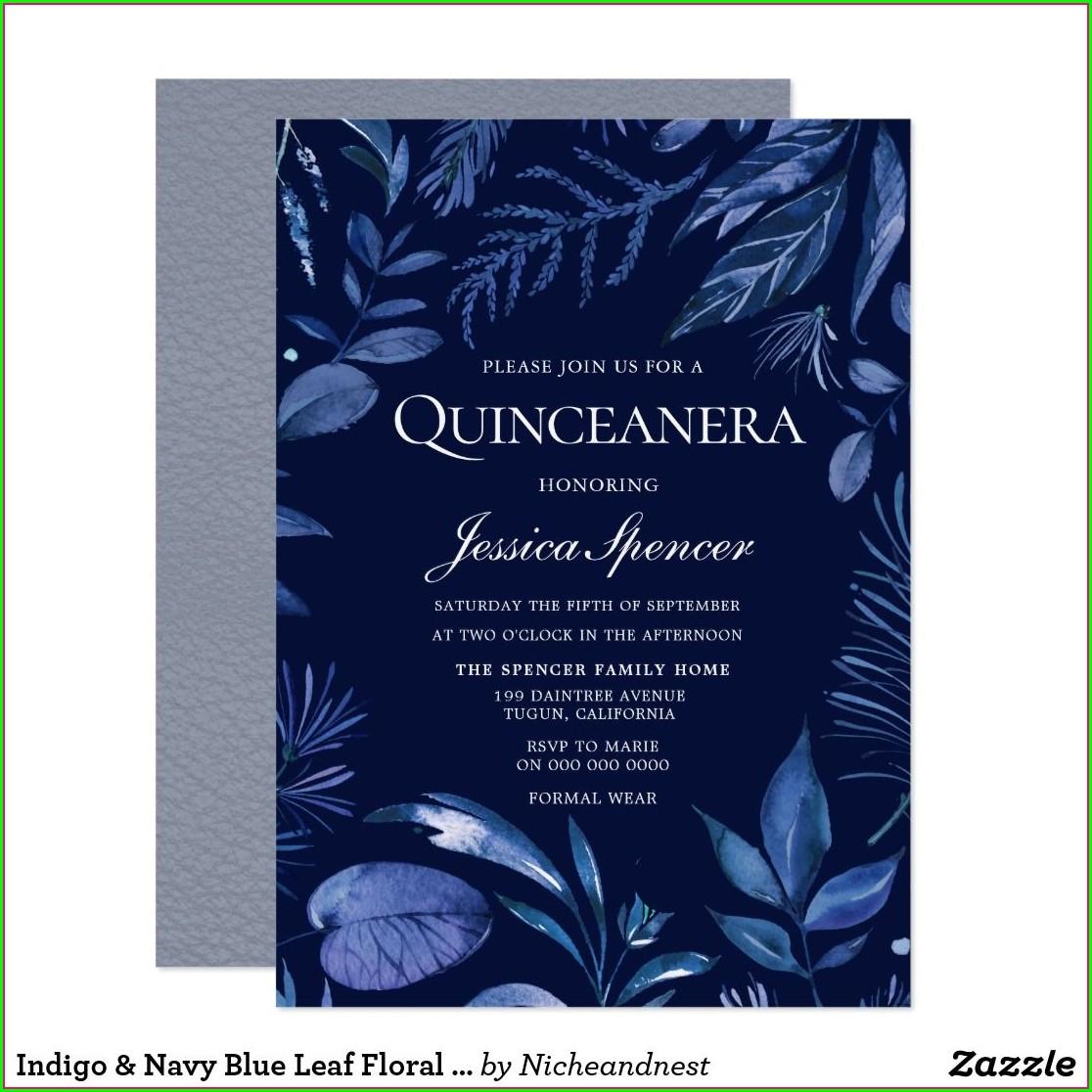 Navy Blue Quinceanera Invitations