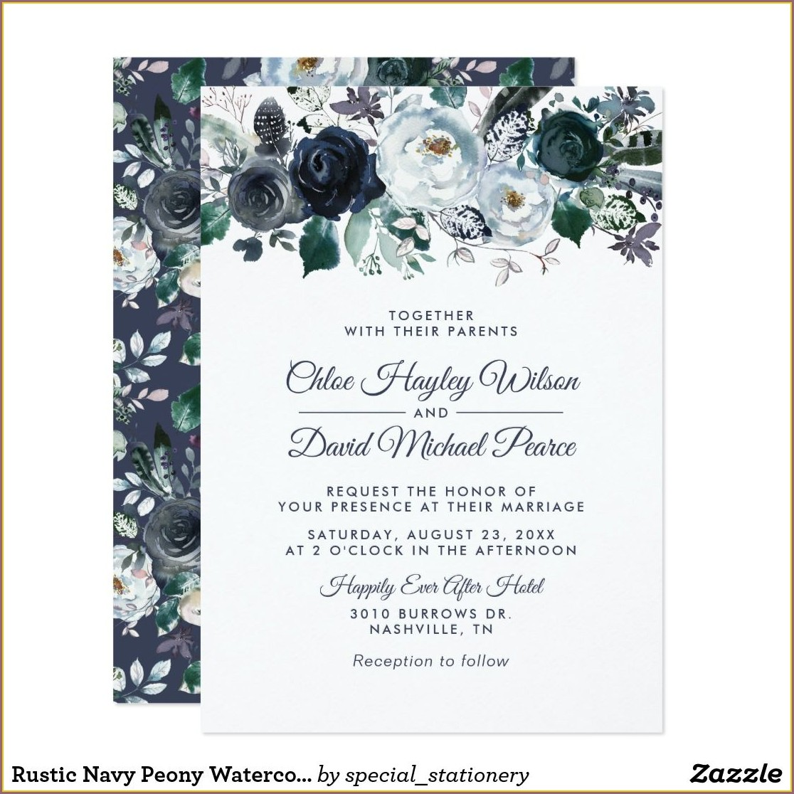 Navy Blue Rustic Wedding Invitations