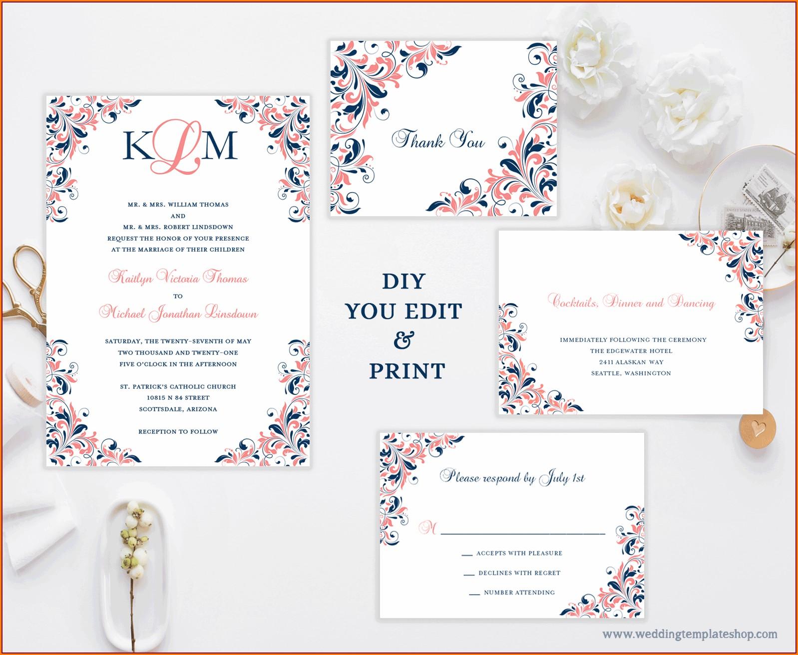 Navy Blue Wedding Invitation Templates