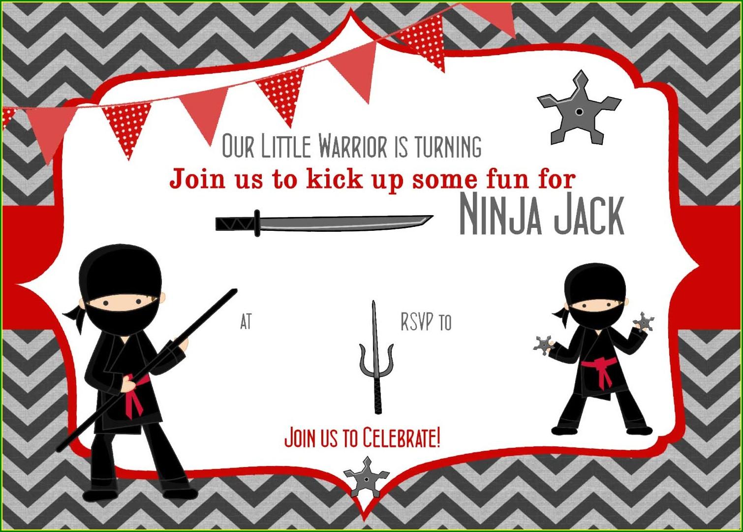 Ninja Birthday Invitation Template Free