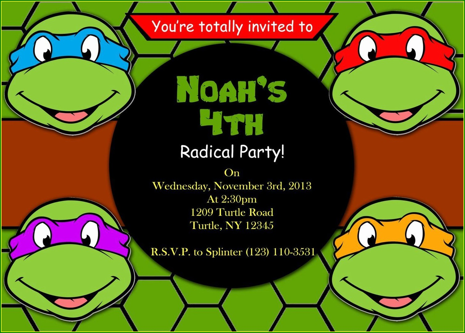 Ninja Turtle Birthday Invitation Template Free