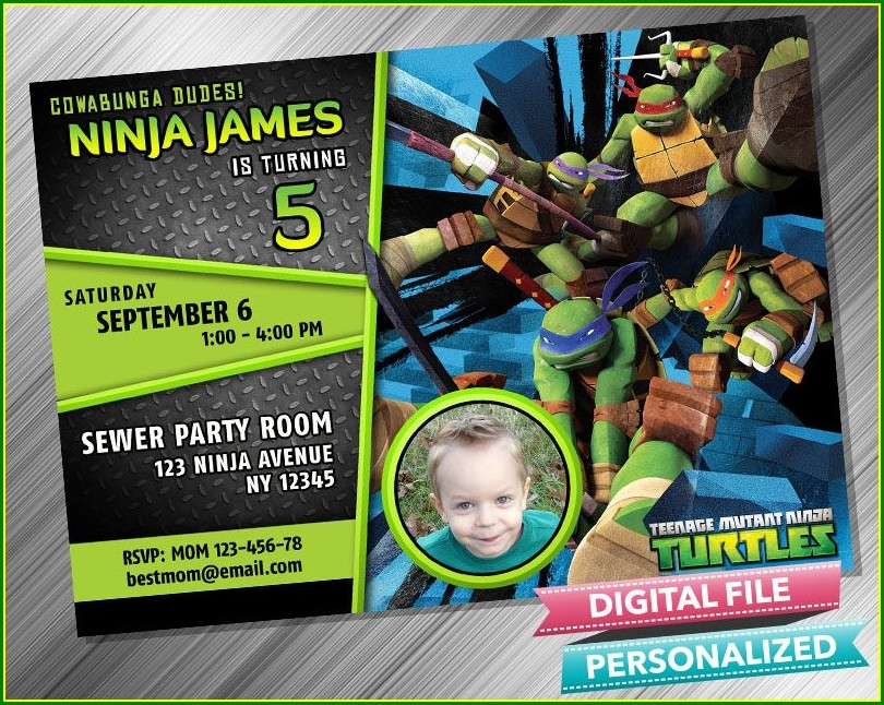 Ninja Turtle Invitations With Picture