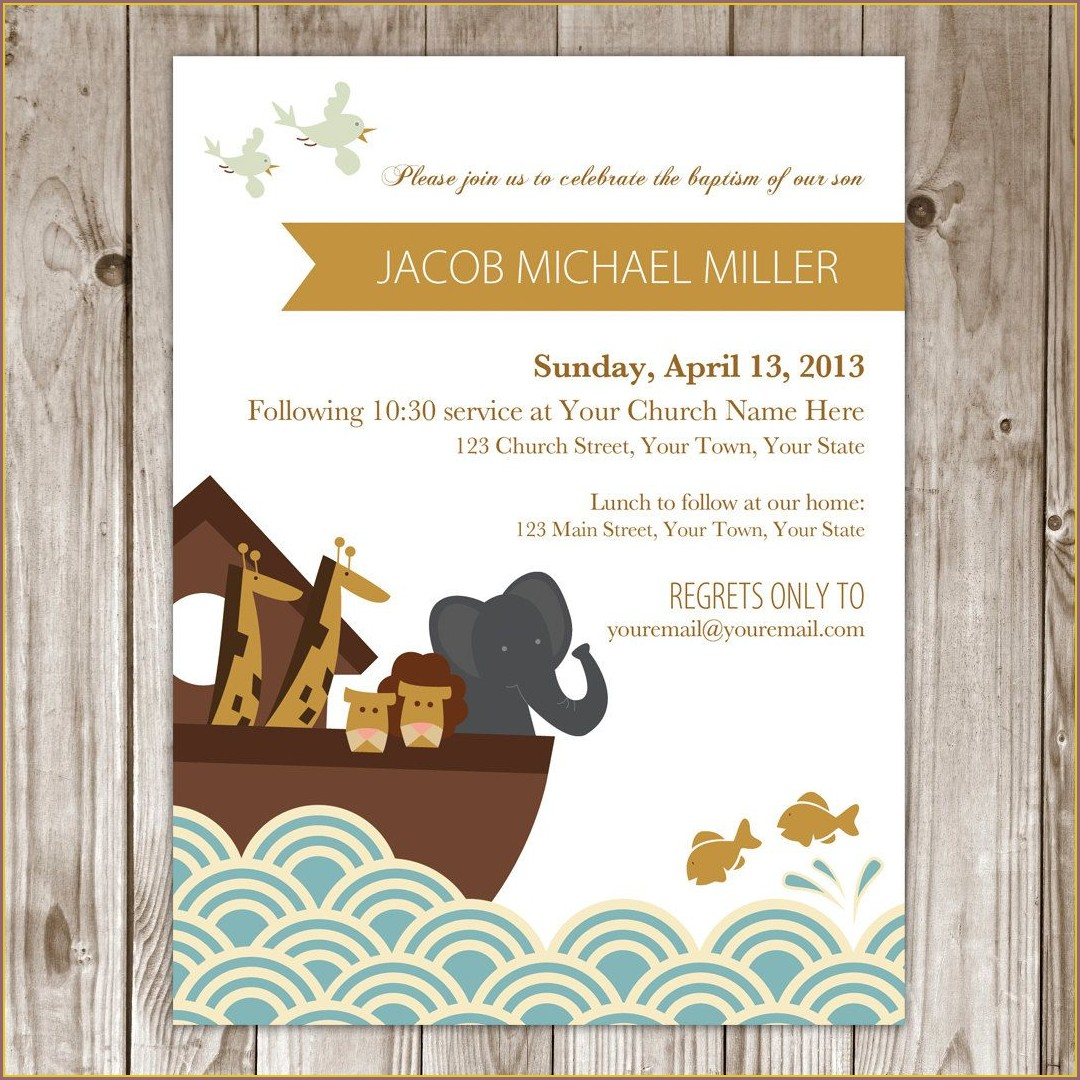 Noahs Ark Baptism Invitation