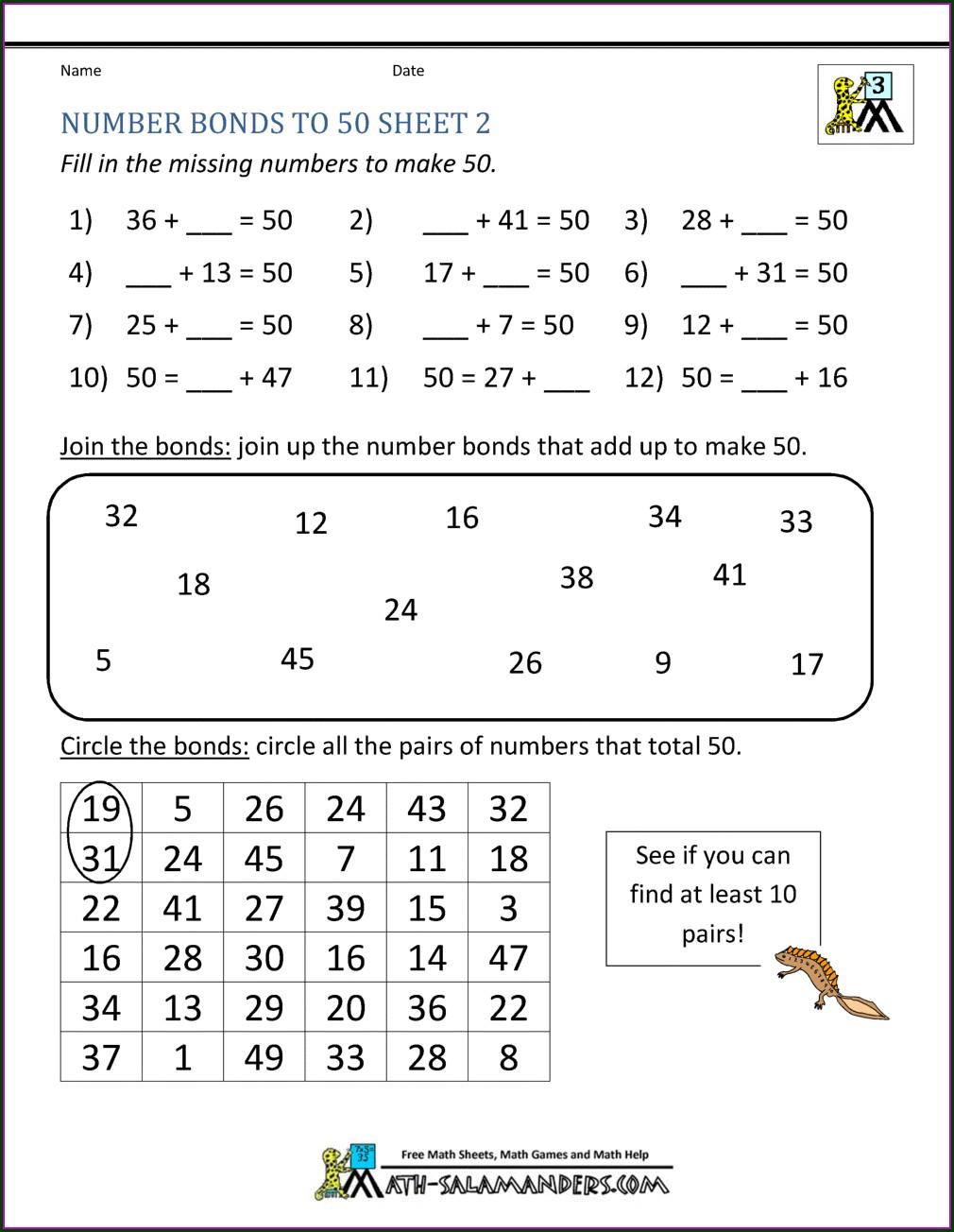 Number Bonds To 20 Worksheet Ks2