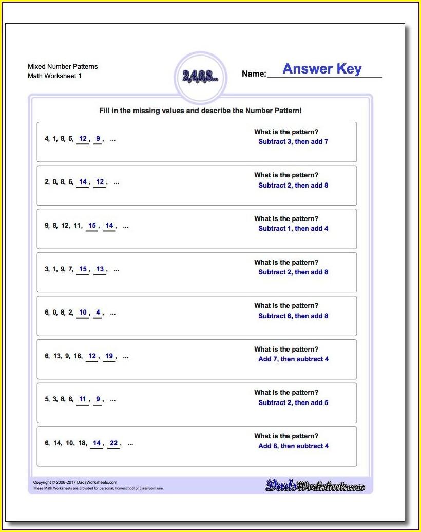 Number Patterns Math Worksheets