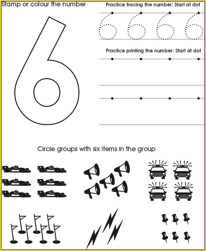 Number Six Worksheet Preschool
