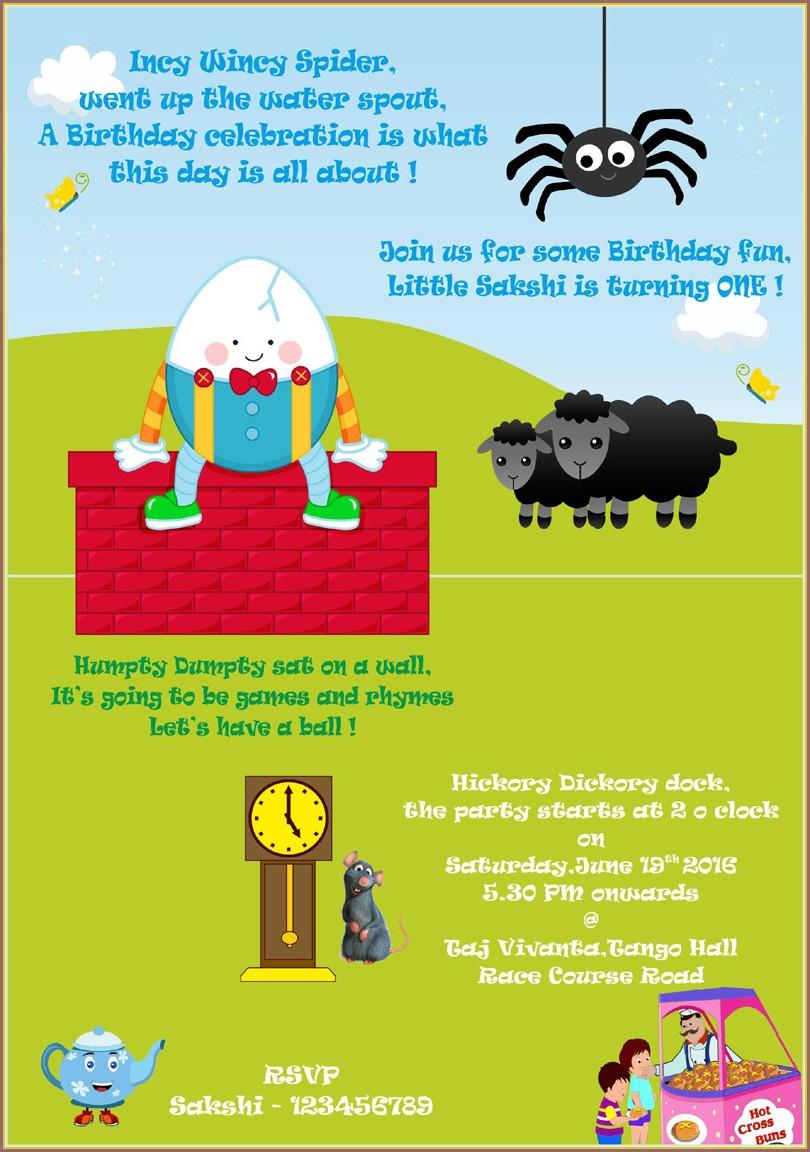 Nursery Rhyme Birthday Invitations
