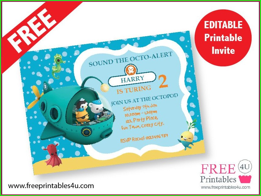 Octonauts Birthday Invitations Template Free