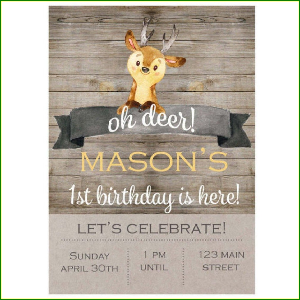 Oh Deer Birthday Invitations