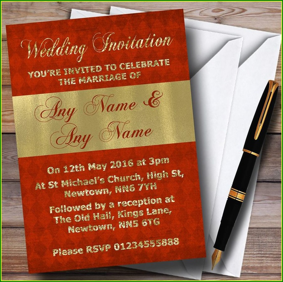 Orange And Gold Wedding Invitations