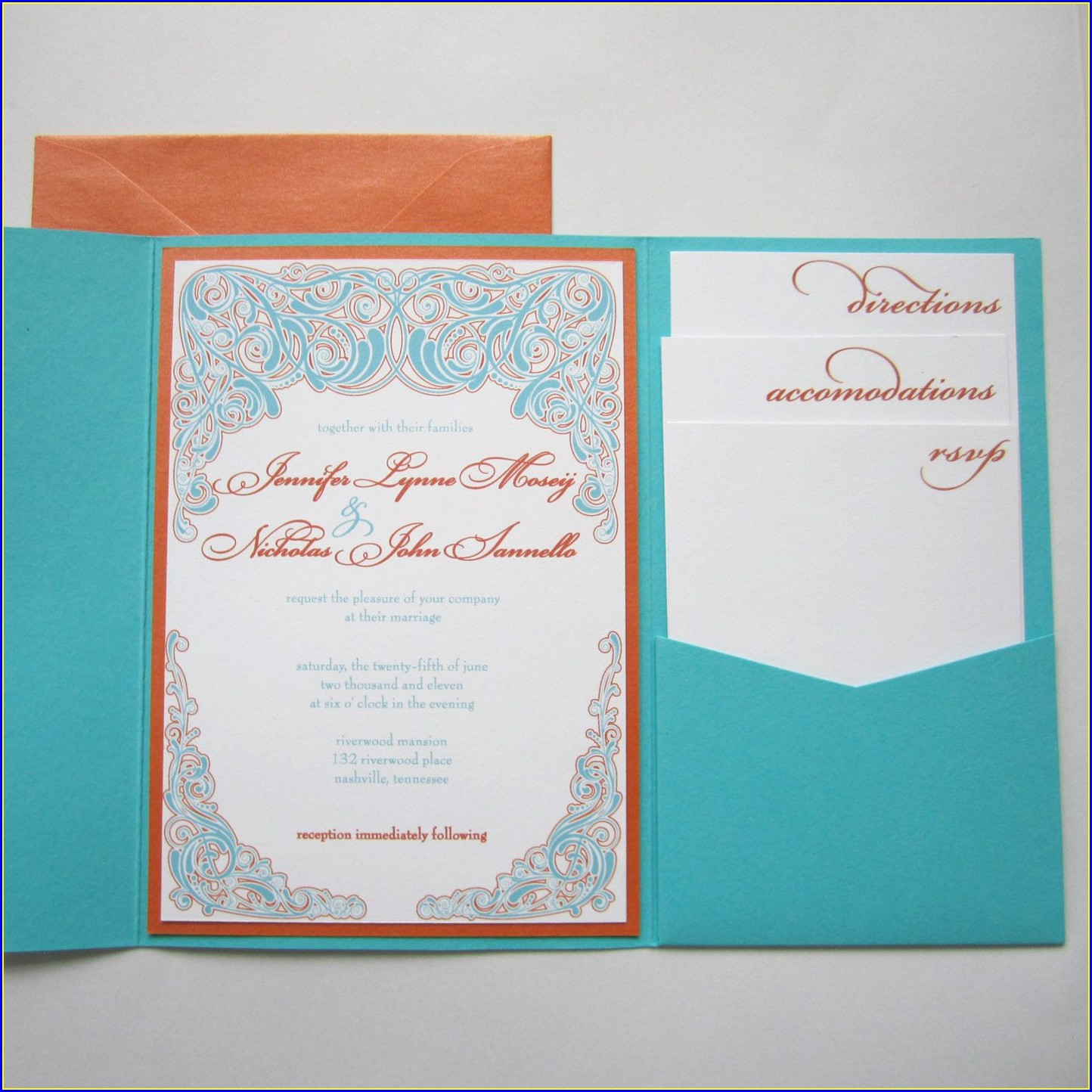 Orange And Teal Wedding Invitations