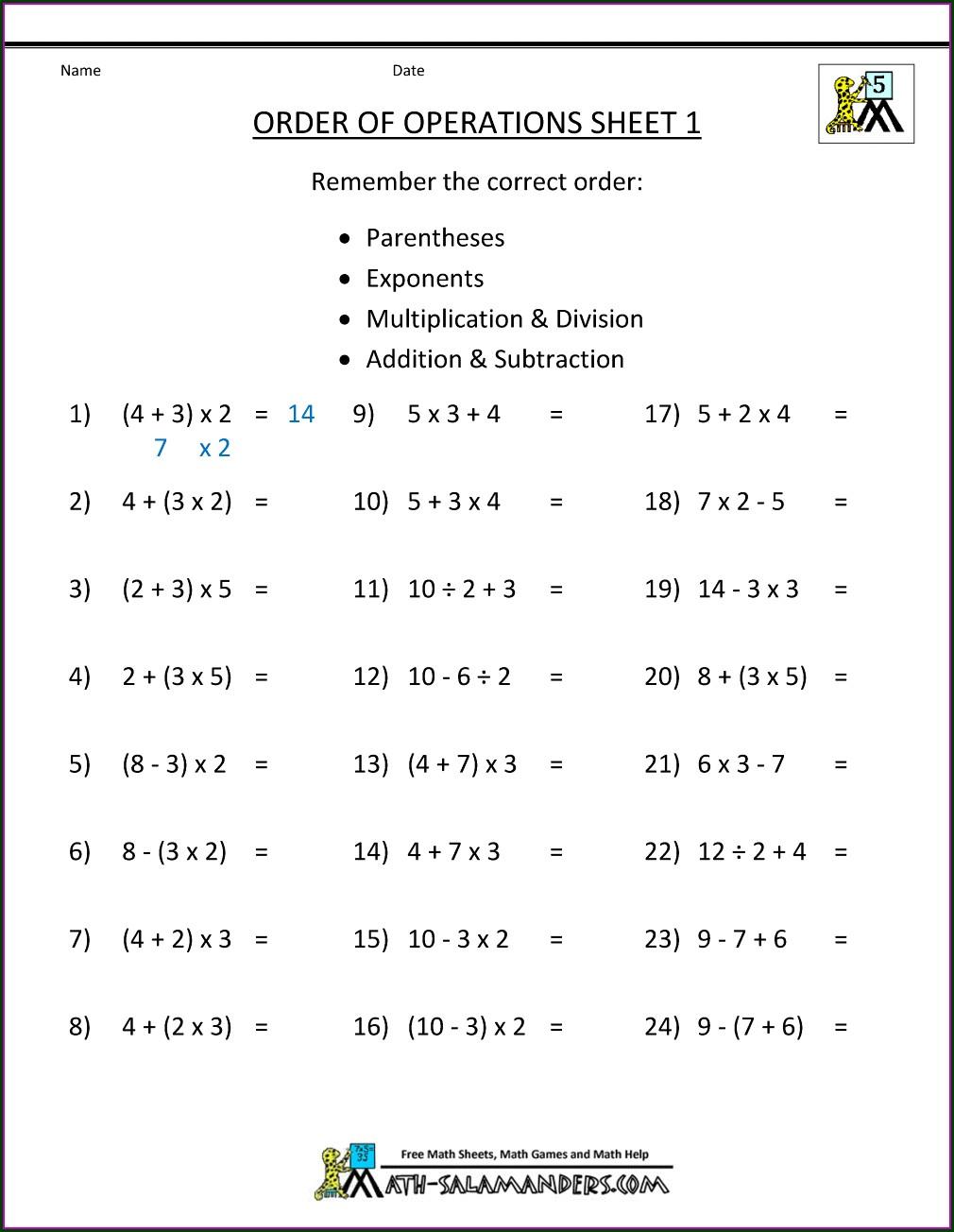 Order Of Operations Riddle Worksheet Pdf