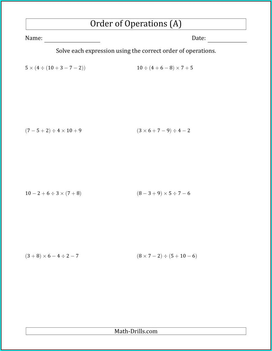 Order Of Operations With Radicals Worksheet