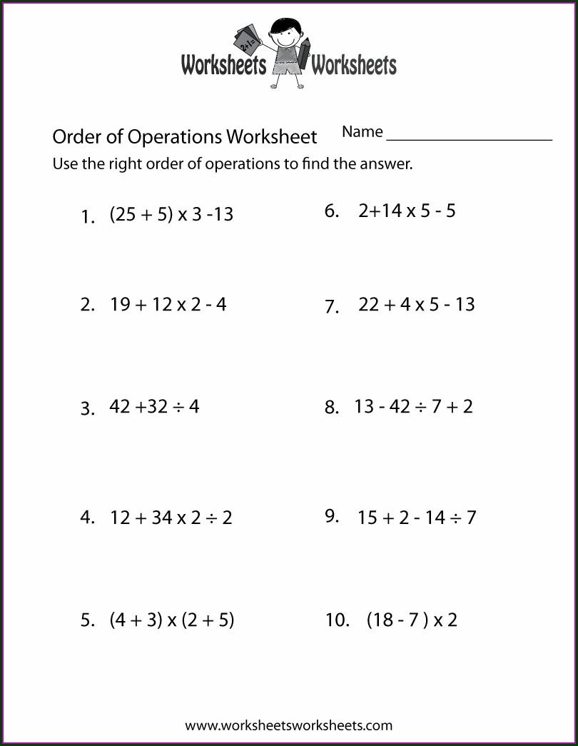 Order Of Operations Worksheet Images