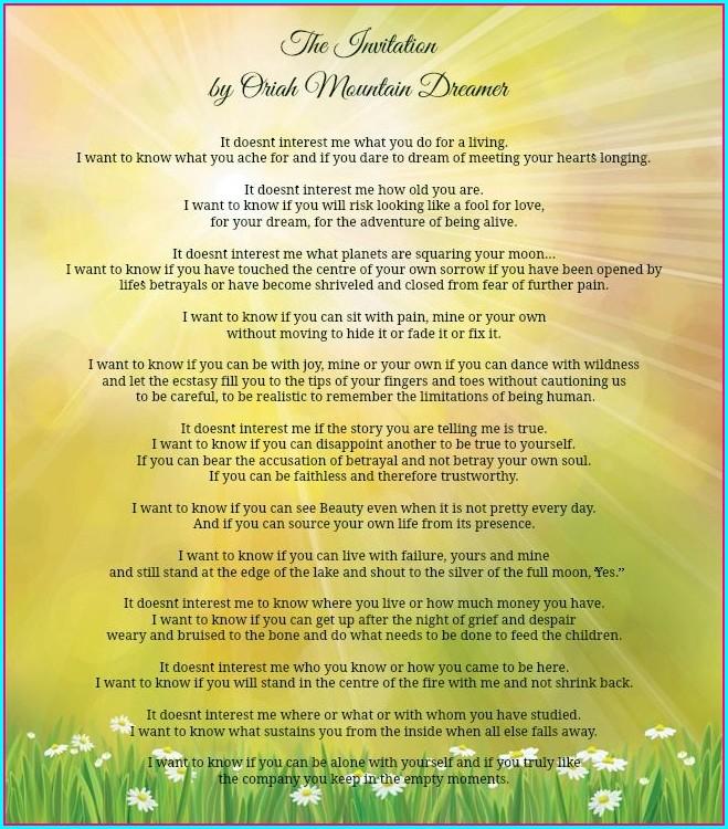 Oriah Mountain Dreamer The Invitation Poem
