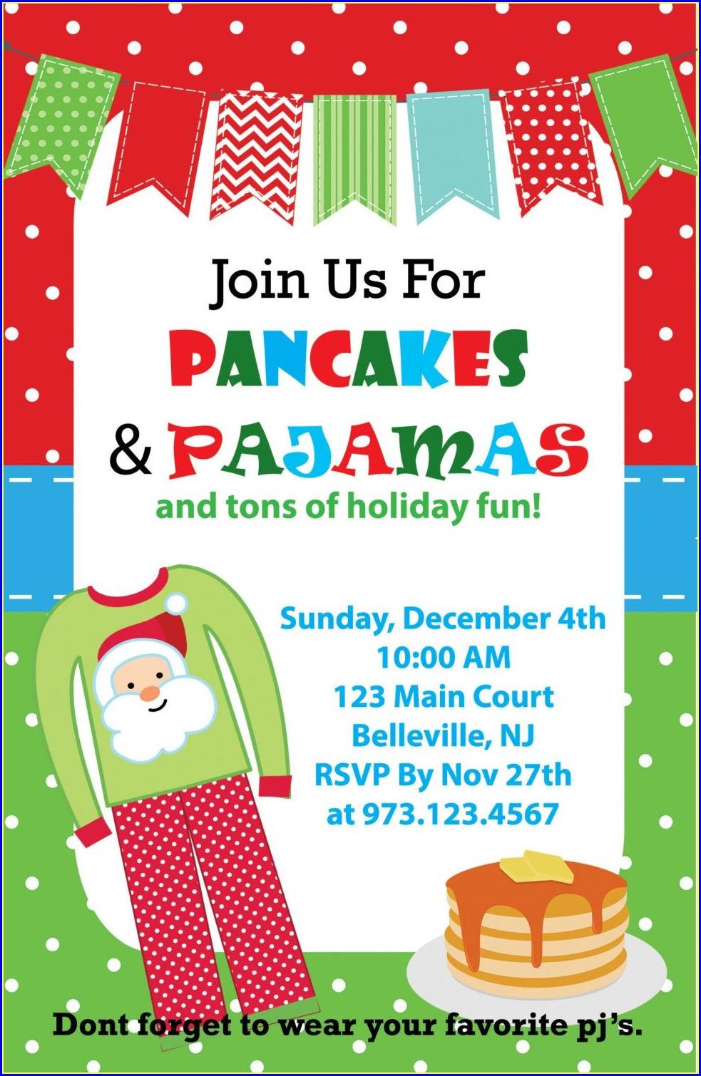 Pancakes And Pajamas Invitation Free